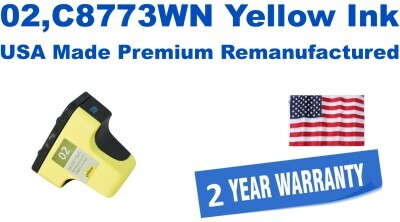 02,C8773WN Yellow Premium USA Made Remanufactured ink