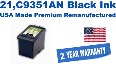 21,C9351AN Black Premium USA Made Remanufactured ink