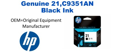 New Original HP 21 Black Ink Cartridge (C9351AN)