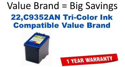 22,C9352AN Tri-Color Compatible Value Brand ink