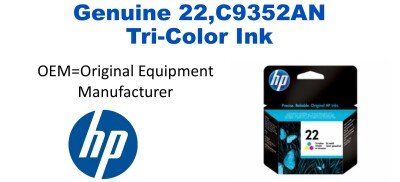New Original HP 22 Tri-Color Ink Cartridge (C9352AN)