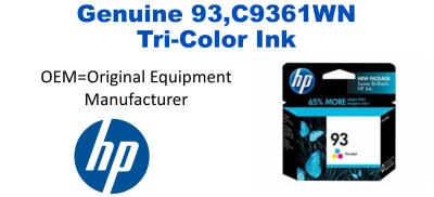 New Original HP 93 Tri-Color Ink Cartridge (C9361WN) (#93)