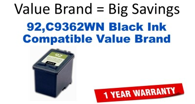 92,C9362WN Black Compatible Value Brand ink