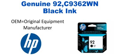 92,C9362WN Genuine Black HP Ink
