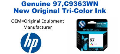 New Original HP 97 Large Tri-Color Ink Cartridge (C9363WN) (#97)