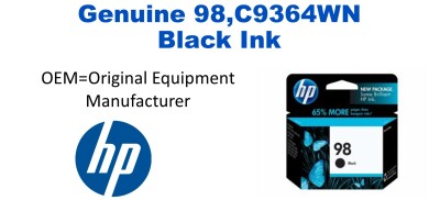 New Original HP 98 Black Ink Cartridge (C9364WN) (#98)