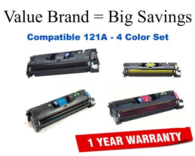 121A 4-Color Set Compatible Value Brand HP toner C9700A,C9701A,C9702A,C9703A
