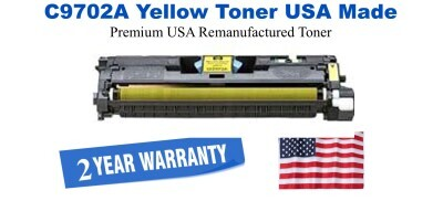 C9702A,121A Yellow Premium USA Made Remanufactured HP toner