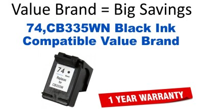 74,CB335WN Black Compatible Value Brand ink