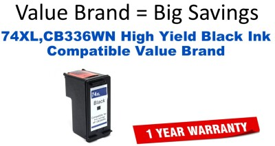 74XL,CB336WN High Yield Black Compatible Value Brand ink