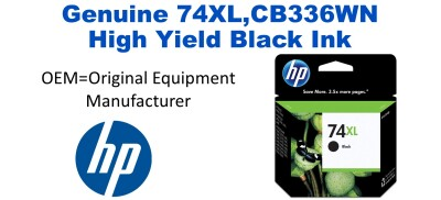 74XL,CB336WN Genuine High Yield Black HP Ink