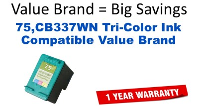 75,CB337WN Tri-Color Compatible Value Brand ink