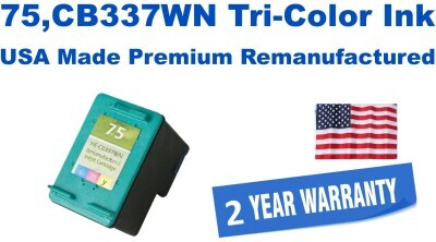 75,CB337WN Tri-Color Premium USA Made Remanufactured ink