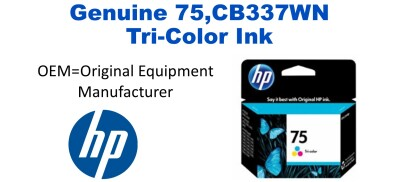 75,CB337WN Genuine Tri-Color HP Ink