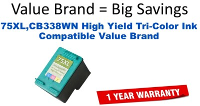 75XL,CB338WN High Yield Tri-Color Compatible Value Brand ink
