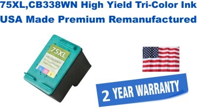 75XL,CB338WN High Yield Tri-Color Premium USA Made Remanufactured ink