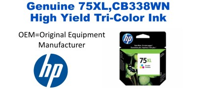 75XL,CB338WN Genuine High Yield Tri-Color HP Ink