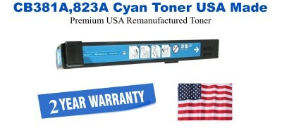 CB381A,823A Cyan Premium USA Made Remanufactured HP toner