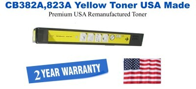 CB382A,823A Yellow Premium USA Made Remanufactured HP toner