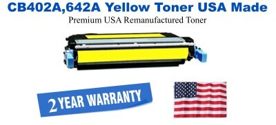 CB402A,642A Yellow Premium USA Made Remanufactured HP toner
