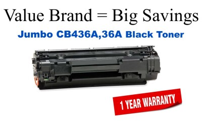 CB436A,36A Jumbo Black Compatible Value Brand HP Jumbo Toner 50% Higher Yield