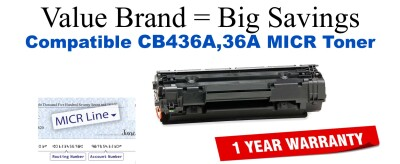 HP 36A Black Remanufactured MICR Toner Cartridge (CB436A)
