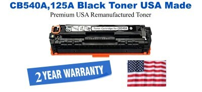 CB540A,125A Black Premium USA Made Remanufactured HP toner