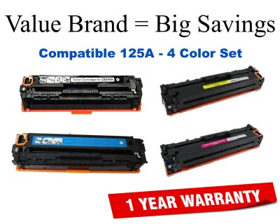 125A 4-Color Set Compatible Value Brand toner CB540A,CB541A,CB542A,CB543A
