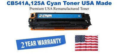 CB541A,125A Cyan Premium USA Made Remanufactured HP toner