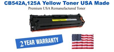 CB542A,125A Yellow Premium USA Made Remanufactured HP toner