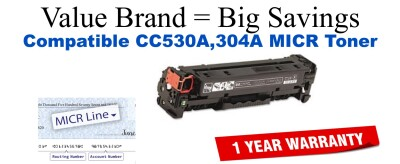 CC530A,304A MICR Compatible Value Brand toner
