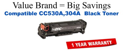 CC530A,304A Black Compatible Value Brand toner