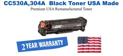 CC530A,304A Black Premium USA Made Remanufactured HP toner