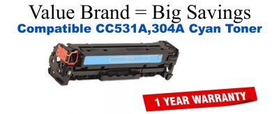 CC531A,304A Cyan Compatible Value Brand toner