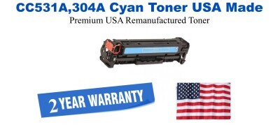 CC531A,304A Cyan Premium USA Made Remanufactured HP toner