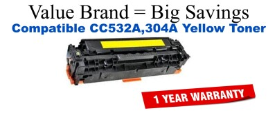 CC532A,304A Yellow Compatible Value Brand toner