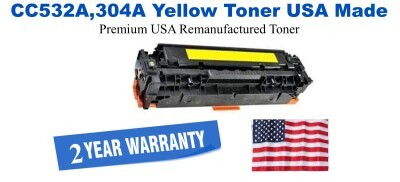 CC532A,304A Yellow Premium USA Made Remanufactured HP toner