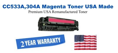 CC533A,304A Magenta Premium USA Made Remanufactured HP toner