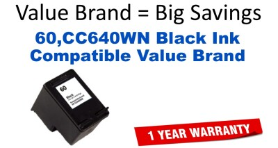 60,CC640WN Black Compatible Value Brand ink