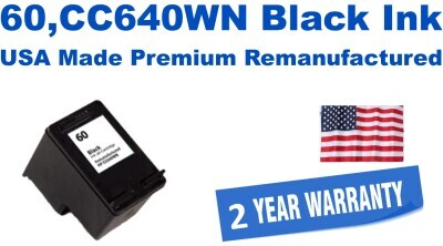 60,CC640WN Black Premium USA Made Remanufactured ink