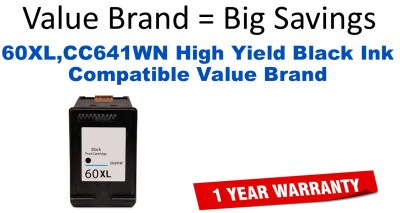 60XL,CC641WN High Yield Black Compatible Value Brand ink