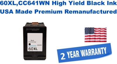 60XL,CC641WN High Yield Black Premium USA Made Remanufactured ink