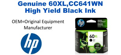 60XL,CC641WN Genuine High Yield Black HP Ink