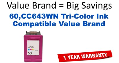 HP 60XL Tri-Color Remanufactured Ink Cartridge (CC644WN) (#60XL)