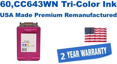 60,CC643WN Tri-Color Premium USA Made Remanufactured ink