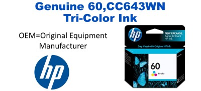 New Original HP 60 Tri-Color Ink Cartridge (CC643WN)