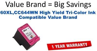 60XL,CC644WN High Yield Tri-Color Compatible Value Brand ink