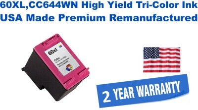 60XL,CC644WN High Yield Tri-Color Premium USA Made Remanufactured ink