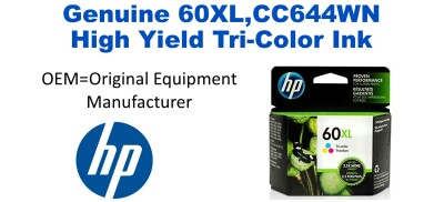 60XL,CC644WN Genuine High Yield Tri-Color HP Ink