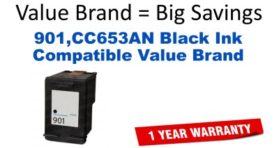 901,CC653AN Black Compatible Value Brand ink